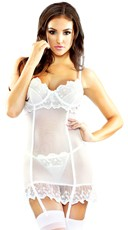 White Mesh and Embroidered Lace Garter Chemise