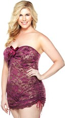 Plus Size Strapless Floral Lace Dress