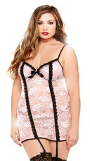 Plus Size Blush Underwire Chemise and Thong