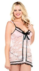 Plus Size Blush Lace Open Front Babydoll