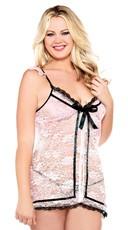 Plus Size Blush Lace Open Front Babydoll