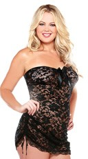 Plus Size Strapless Lace Dress Chemise