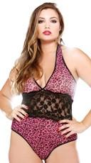 Plus Size Pink Leopard Halter Teddy
