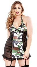 Plus Size Camo Print Halter Chemise and G-String