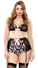 Plus Size Retro Floral Bralette and High Waisted Gartered Panty Set