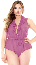 Plus Size Halter Neck Romper with Snap Closure