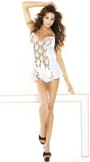 Lace Panel Chemise and G-String