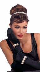 Black Gloves with Faux Pearls