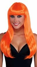 Long Neon Orange Wig