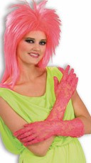Pink Neon Lace Gloves