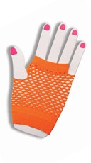 Hot Orange Fishnet Fingerless Gloves