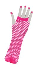 Hot Pink Fingerless Fishnet Gloves
