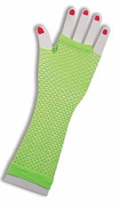 Neon Green Fingerless Fishnet Gloves