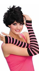 Black And Pink Striped Fingerless Gloves