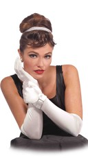 White Satin Gloves with Rhinestone Buckle