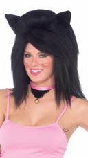 Jet Black Fierce Feline Fantasy Wig