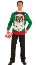 Plus Size Santa Print Christmas Sweater