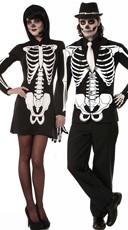 Skeleton Print Couples Costume