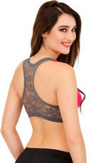 Hot Pink Push Up Sports Bra with Lacey Backside