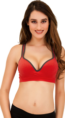 Underwire Push Up Sports Bra With Racer Back Straps