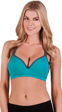 Teal Underwire Push Up Sports Bra with Racer Back