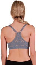 Grey Aztec Lace Back Sports Bra