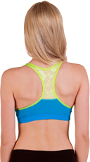 Neon Blue and Green Wire Free Lace Back Sports Bra