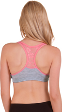 Grey and Coral Wire Free Lace Back Sports Bra