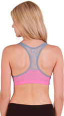 Pink and Grey Wire Free Lace Back Sports Bra