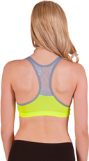 Lime and Grey Wire Free Lace Back Sports Bra