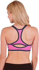 Pink Padded Scoop Neck Sports Bra with Keyhole Racer Back