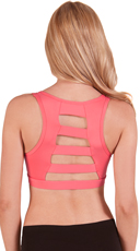 Coral Wide Ladder Back Microfiber Sports Bra