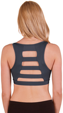 Grey Wide Ladder Back Microfiber Sports Bra