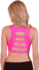 Hot Pink Wide Ladder Back Microfiber Sports Bra