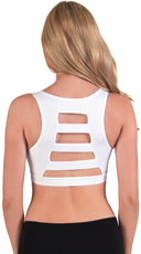 White Wide Ladder Back Microfiber Sports Bra