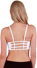 White Caged Back Sports Bra