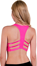 Hot Pink Caged T-Back Sports Bra