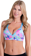 Rose Print Push-Up Sports Bra