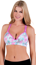 Pink Rose Print Push-Up Sports Ba
