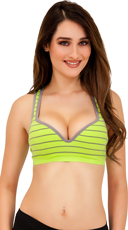 Lime and Grey Striped Push Up Underwire Sports Bra