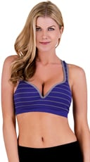 Blue and Grey Striped Push Up Underwire Sports Bra