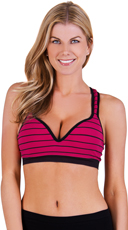 Raspberry and Black Striped Underwire Sports Bra