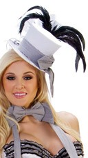 Fancy White Cigarette Girl Hat