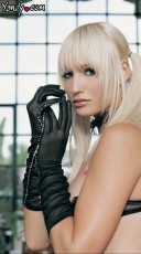 Sheer Mesh Ruched Elbow Length Gloves W/ Rhine Stone Trim