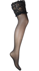 Plus Size Wide Lace Top Thigh Highs