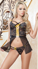 Strappy Lace and Mesh Flutter Babydoll