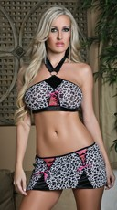 Passionate Panther Bra and Skirt Set