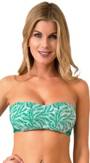 Fresh Floral Scented Bandeau Bra Top with Peacock Feather Print