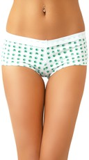 Patchouli Scented Cotton Boyshorts with Marijuana Leaf Print