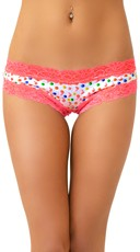Hot Pink Lace and Gumball Print Cheeky Hipster with Bubblegum Scent